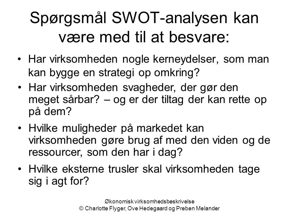 Økonomisk virksomhedsbeskrivelse © Charlotte Flyger, Ove Hedegaard og Preben Melander Spørgsmål SWOT-analysen kan være med til at besvare: Har virksom
