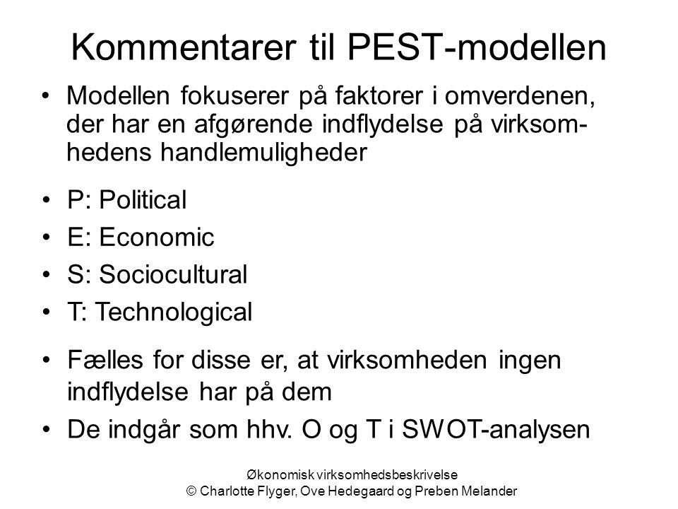 Kommentarer til PEST-modellen Modellen fokuserer på faktorer i omverdenen, der har en afgørende indflydelse på virksom- hedens handlemuligheder P: Pol