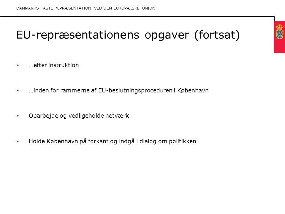 Minimum clear margin for text Fixed margin Keep heading in CAPITALS EU-repræsentationens opgaver (fortsat) …efter instruktion …inden for rammerne af EU-beslutningsproceduren i København Oparbejde og vedligeholde netværk Holde København på forkant og indgå i dialog om politikken DANMARKS FASTE REPRÆSENTATION VED DEN EUROPÆISKE UNION