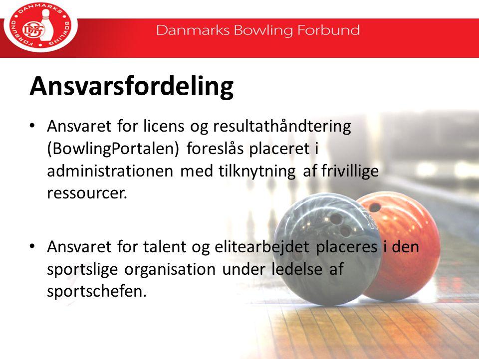 Ansvarsfordeling Ansvaret for licens og resultathåndtering (BowlingPortalen) foreslås placeret i administrationen med tilknytning af frivillige ressourcer.