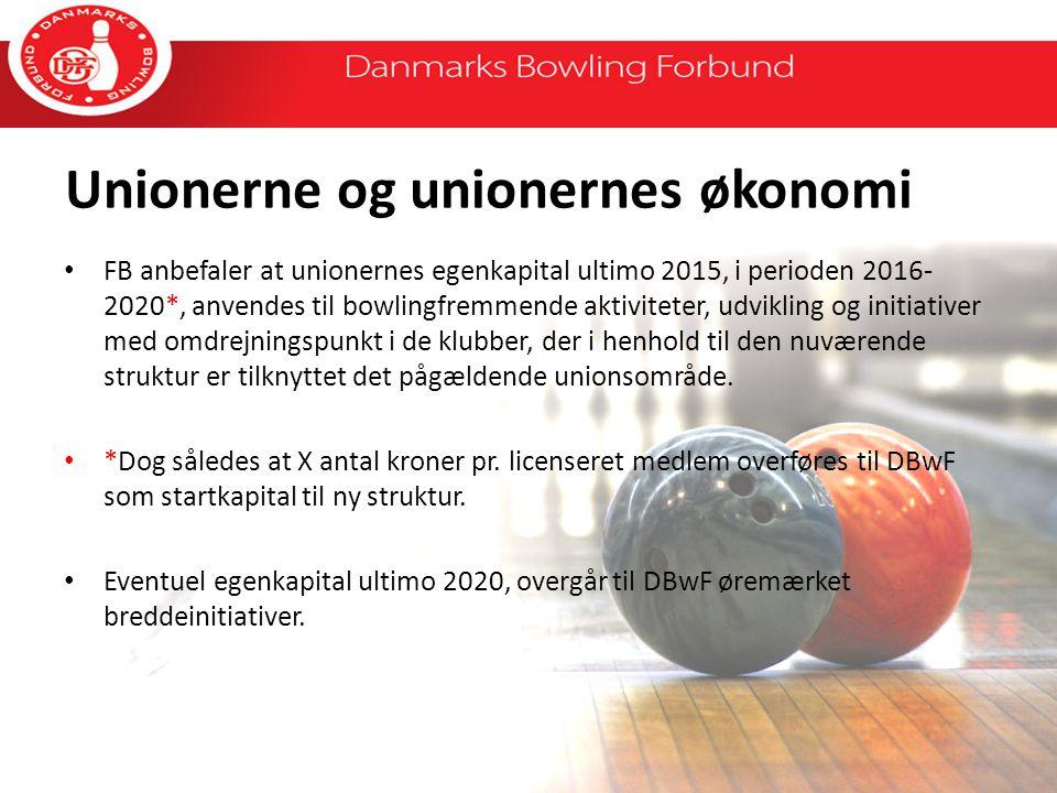 Unionerne og unionernes økonomi FB anbefaler at unionernes egenkapital ultimo 2015, i perioden 2016- 2020*, anvendes til bowlingfremmende aktiviteter, udvikling og initiativer med omdrejningspunkt i de klubber, der i henhold til den nuværende struktur er tilknyttet det pågældende unionsområde.