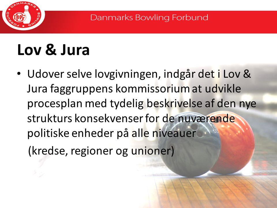 Lov & Jura Udover selve lovgivningen, indgår det i Lov & Jura faggruppens kommissorium at udvikle procesplan med tydelig beskrivelse af den nye strukturs konsekvenser for de nuværende politiske enheder på alle niveauer (kredse, regioner og unioner)