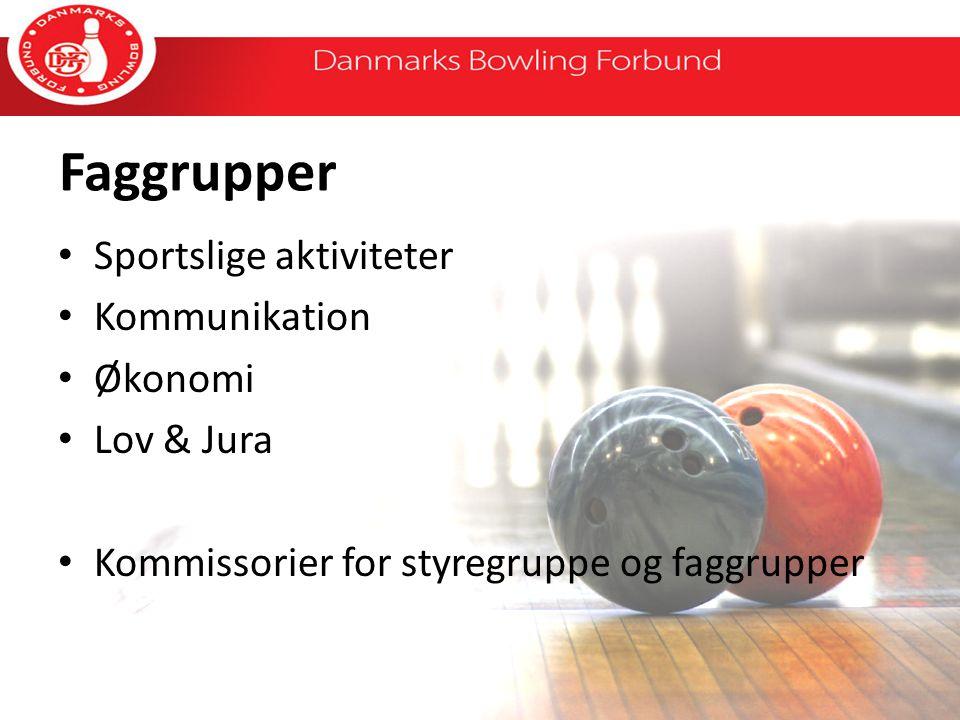 Faggrupper Sportslige aktiviteter Kommunikation Økonomi Lov & Jura Kommissorier for styregruppe og faggrupper
