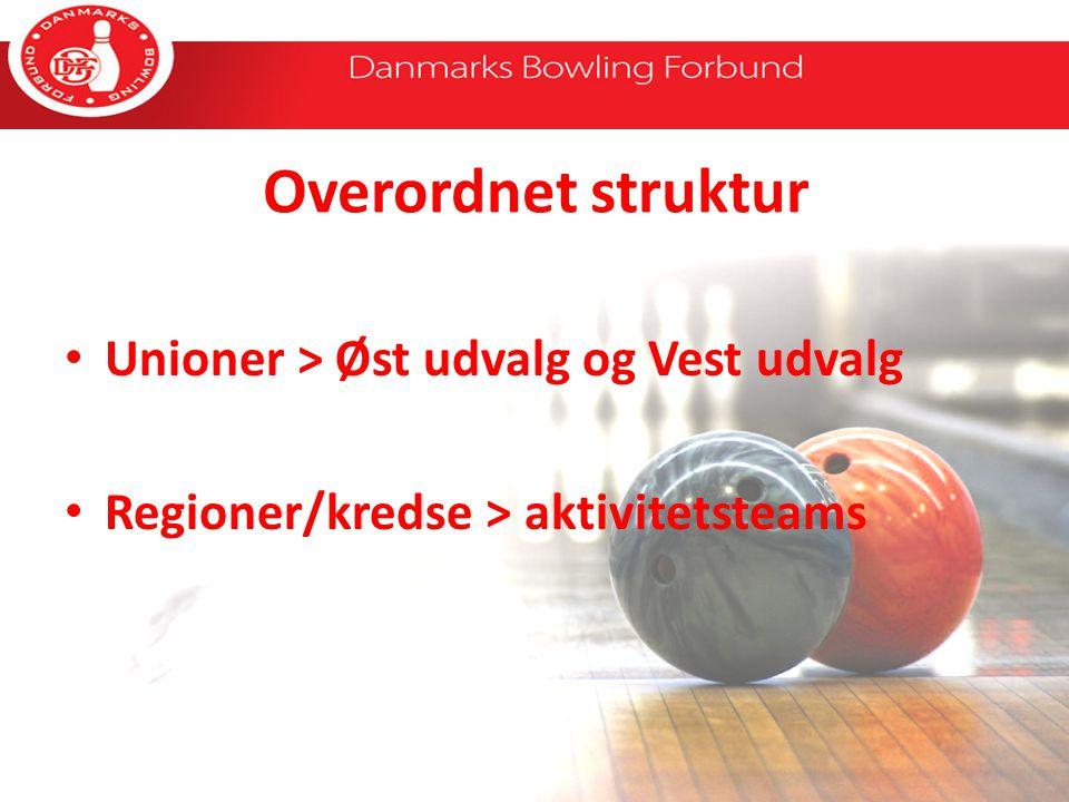 Overordnet struktur Unioner > Øst udvalg og Vest udvalg Regioner/kredse > aktivitetsteams