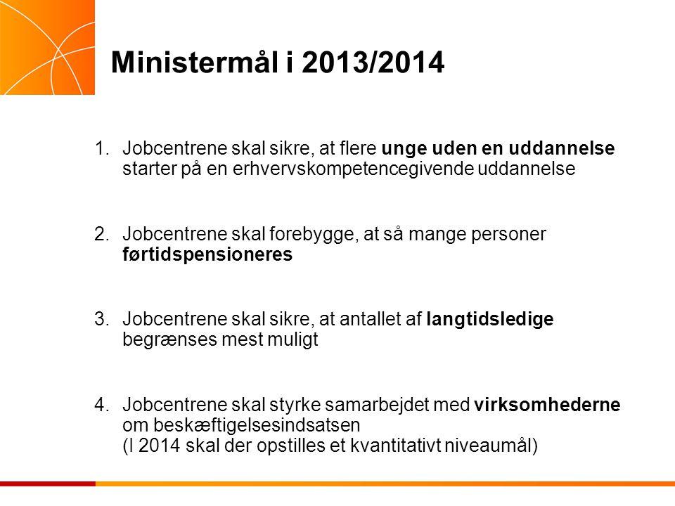 Ministermål i 2013/2014 1.Jobcentrene skal sikre, at flere unge uden en uddannelse starter på en erhvervskompetencegivende uddannelse 2.Jobcentrene skal forebygge, at så mange personer førtidspensioneres 3.Jobcentrene skal sikre, at antallet af langtidsledige begrænses mest muligt 4.Jobcentrene skal styrke samarbejdet med virksomhederne om beskæftigelsesindsatsen (I 2014 skal der opstilles et kvantitativt niveaumål)