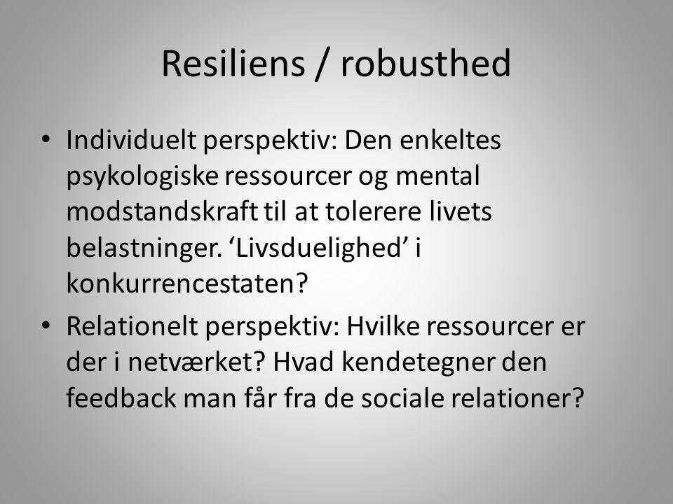 Resiliens / robusthed Individuelt perspektiv: Den enkeltes psykologiske ressourcer og mental modstandskraft til at tolerere livets belastninger.