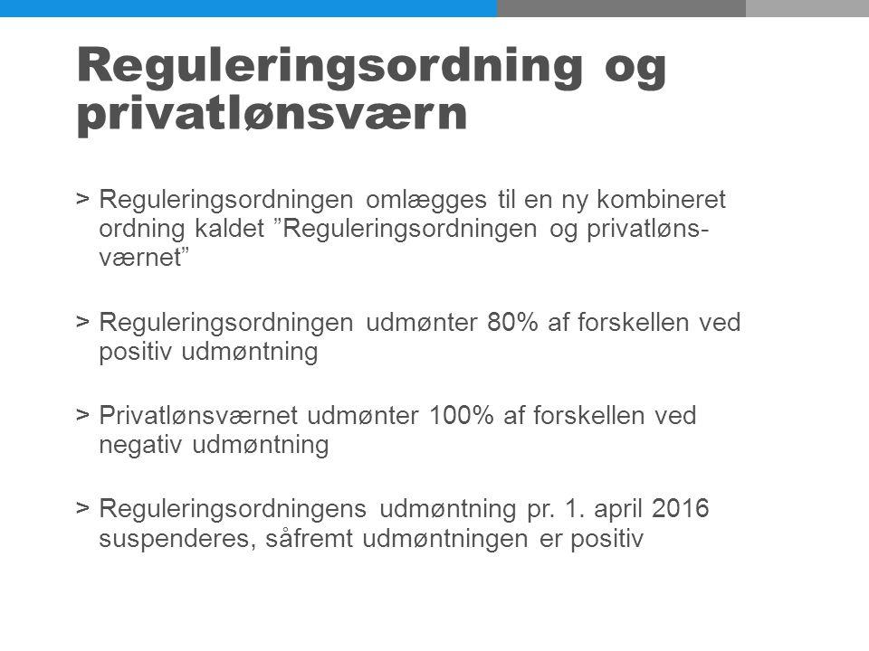 Reguleringsordning og privatlønsværn >Reguleringsordningen omlægges til en ny kombineret ordning kaldet Reguleringsordningen og privatløns- værnet >Reguleringsordningen udmønter 80% af forskellen ved positiv udmøntning >Privatlønsværnet udmønter 100% af forskellen ved negativ udmøntning >Reguleringsordningens udmøntning pr.
