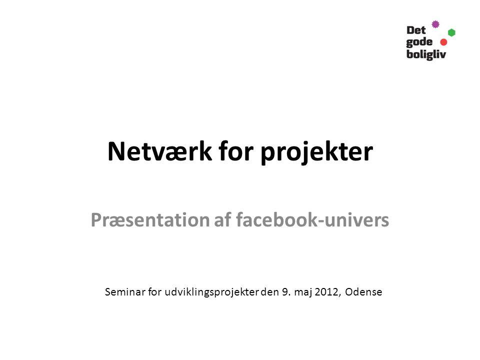 Netværk for projekter Præsentation af facebook-univers Seminar for udviklingsprojekter den 9.