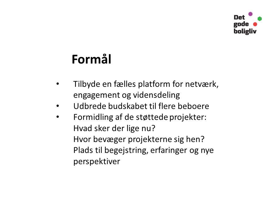 Formål Tilbyde en fælles platform for netværk, engagement og vidensdeling Udbrede budskabet til flere beboere Formidling af de støttede projekter: Hvad sker der lige nu.