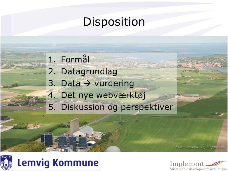 Disposition 1.Formål 2.Datagrundlag 3.Data  vurdering 4.Det nye webværktøj 5.Diskussion og perspektiver Foto: www.lemvigbiogas.com