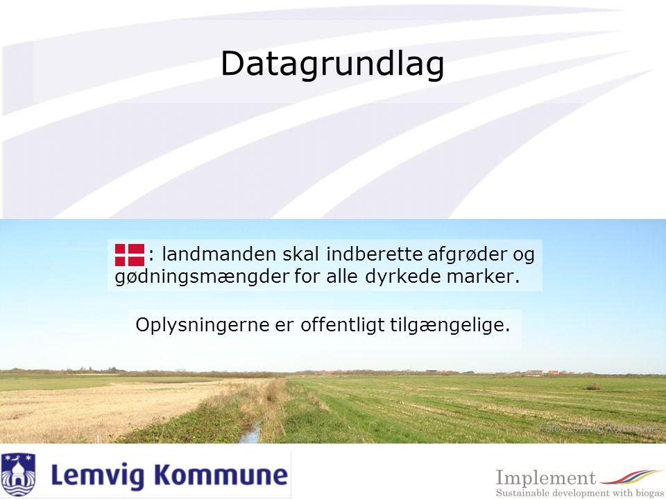 Datagrundlag : landmanden skal indberette afgrøder og gødningsmængder for alle dyrkede marker.