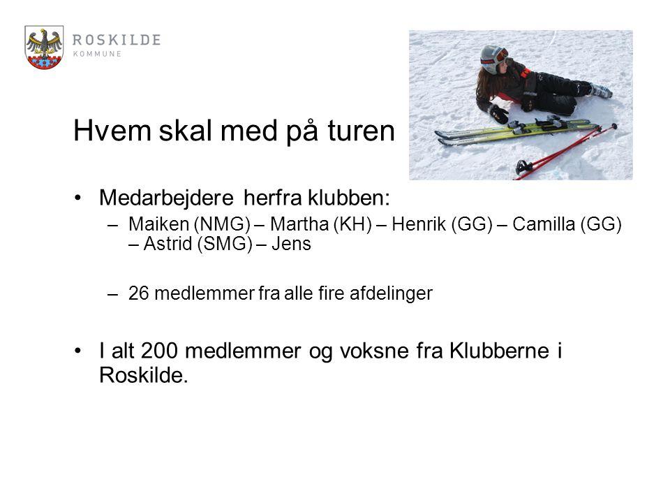 Hvem skal med på turen Medarbejdere herfra klubben: –Maiken (NMG) – Martha (KH) – Henrik (GG) – Camilla (GG) – Astrid (SMG) – Jens –26 medlemmer fra alle fire afdelinger I alt 200 medlemmer og voksne fra Klubberne i Roskilde.