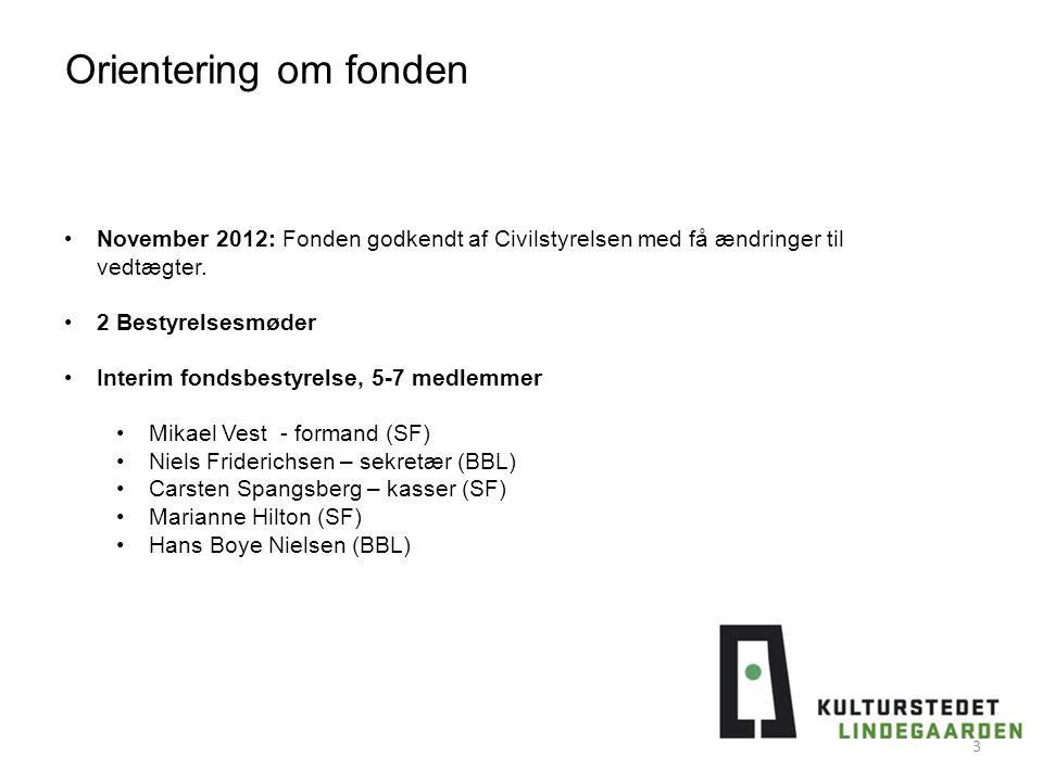 Orientering om fonden November 2012: Fonden godkendt af Civilstyrelsen med få ændringer til vedtægter.