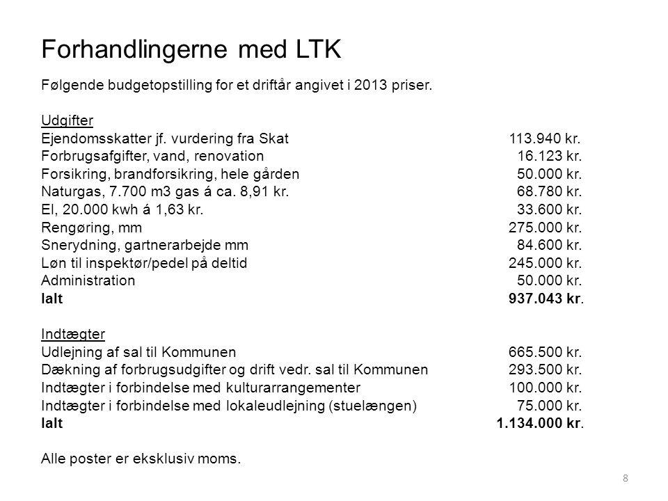 Forhandlingerne med LTK 8 Følgende budgetopstilling for et driftår angivet i 2013 priser.