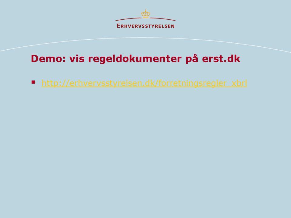 Demo: vis regeldokumenter på erst.dk  http://erhvervsstyrelsen.dk/forretningsregler_xbrl http://erhvervsstyrelsen.dk/forretningsregler_xbrl