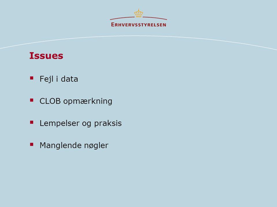 Issues  Fejl i data  CLOB opmærkning  Lempelser og praksis  Manglende nøgler