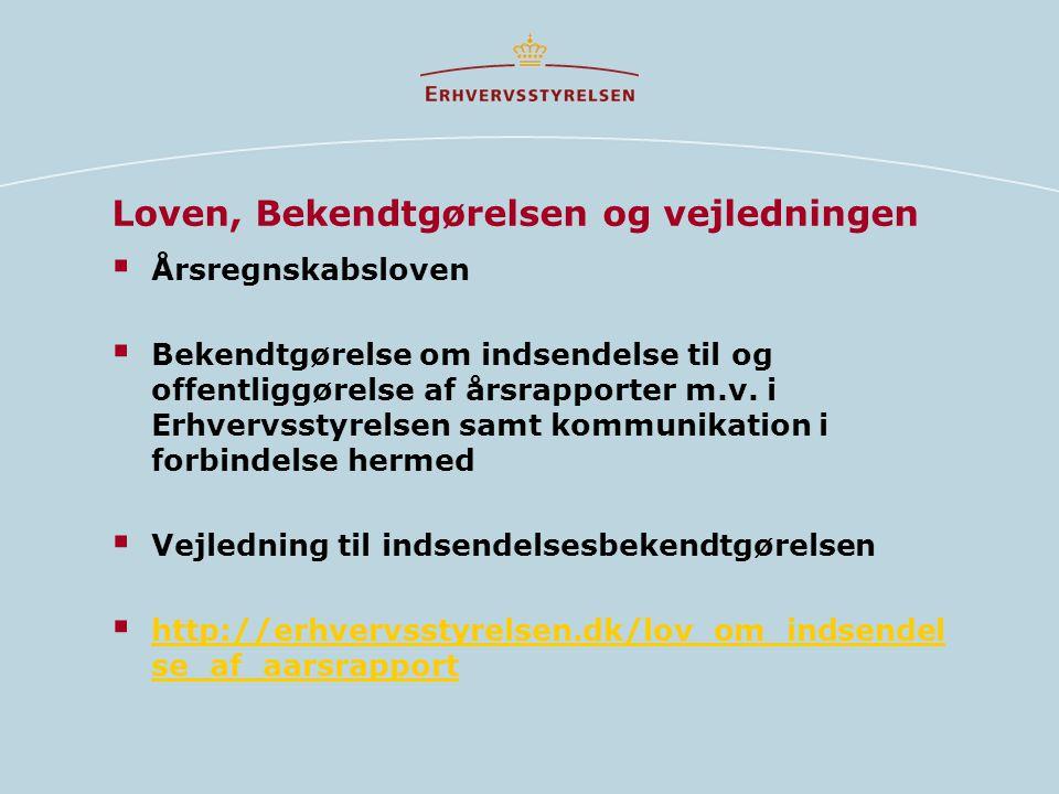 Loven, Bekendtgørelsen og vejledningen  Årsregnskabsloven  Bekendtgørelse om indsendelse til og offentliggørelse af årsrapporter m.v.