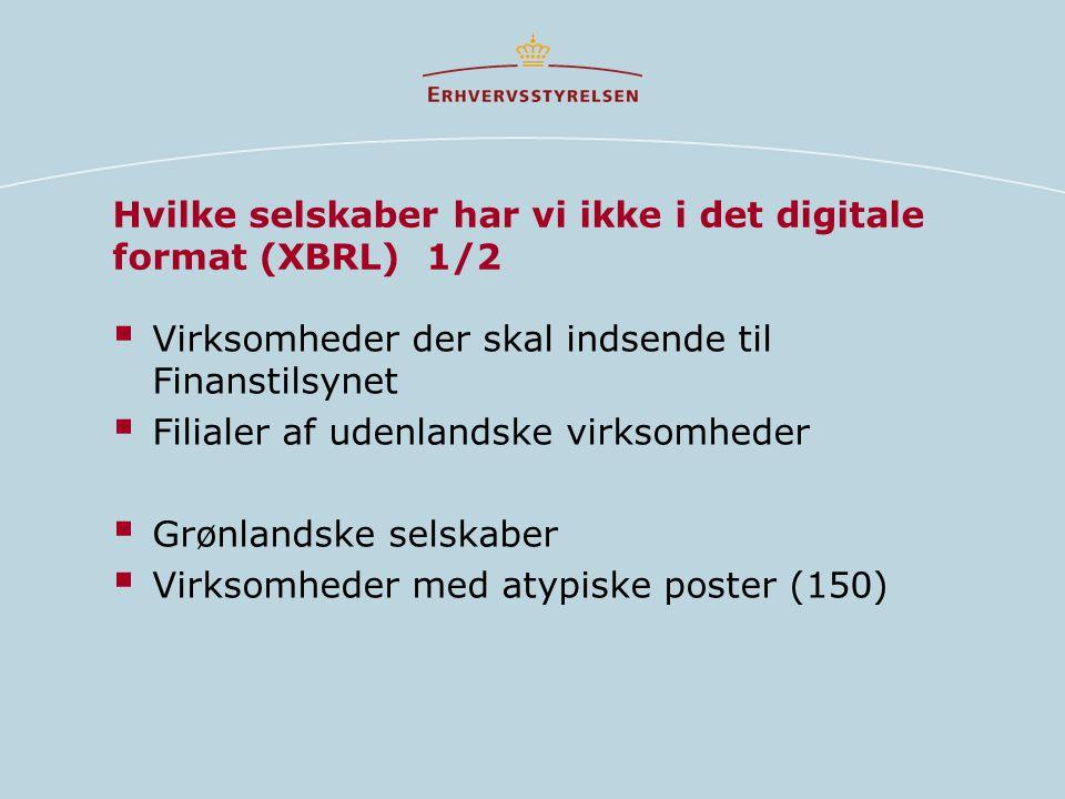 Hvilke selskaber har vi ikke i det digitale format (XBRL) 1/2  Virksomheder der skal indsende til Finanstilsynet  Filialer af udenlandske virksomheder  Grønlandske selskaber  Virksomheder med atypiske poster (150)