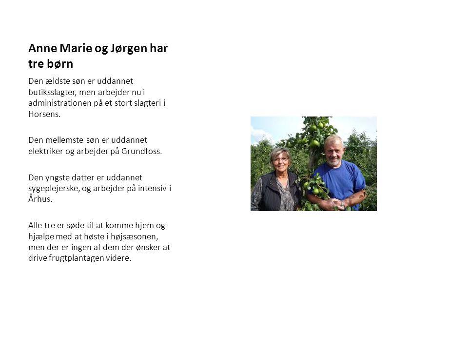 Anne Marie og Jørgen har tre børn Den ældste søn er uddannet butiksslagter, men arbejder nu i administrationen på et stort slagteri i Horsens.