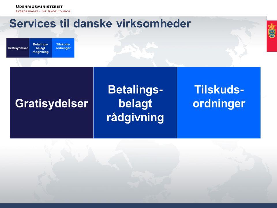 Gratisydelser Betalings- belagt rådgivning Tilskuds- ordninger Services til danske virksomheder