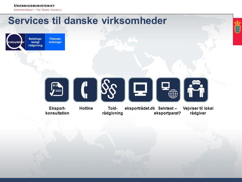 Hotlineeksportrådet.dk Told- rådgivning § § Vejviser til lokal rådgiver Eksport- konsultation Selvtest – eksportparat