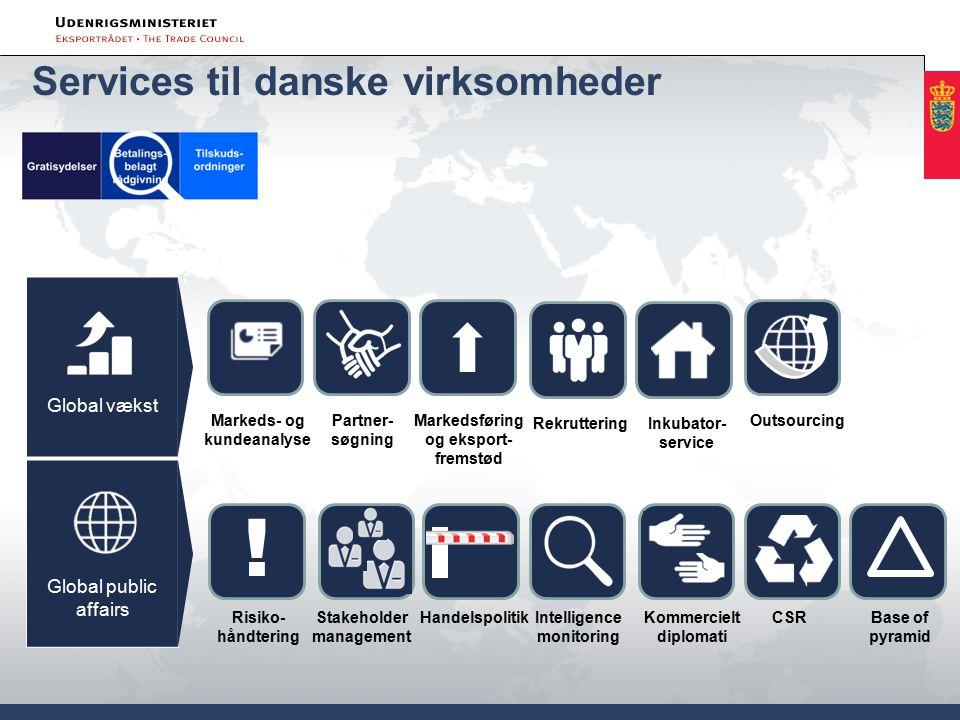 Services til danske virksomheder Global vækst Global public affairs Risiko- håndtering .