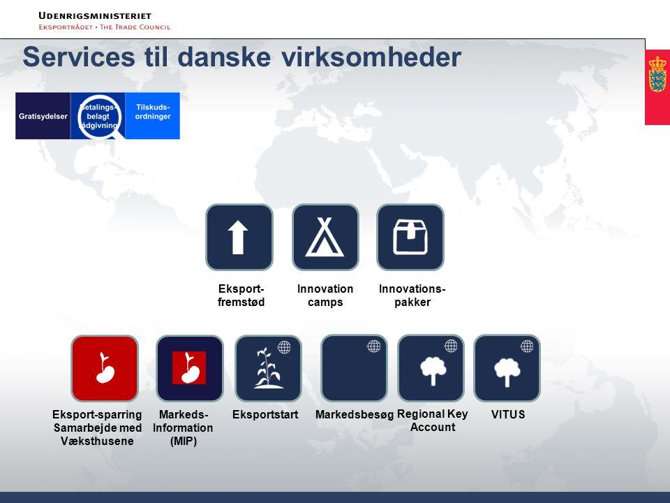 Services til danske virksomheder Innovations- pakker Eksport-sparring Samarbejde med Væksthusene EksportstartVITUS Eksport- fremstød Innovation camps Regional Key Account Markeds- Information (MIP) Markedsbesøg