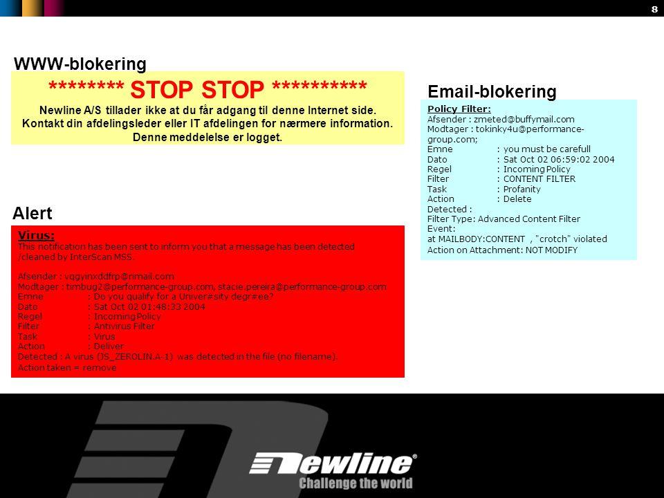 8 ******** STOP STOP ********** Newline A/S tillader ikke at du får adgang til denne Internet side.