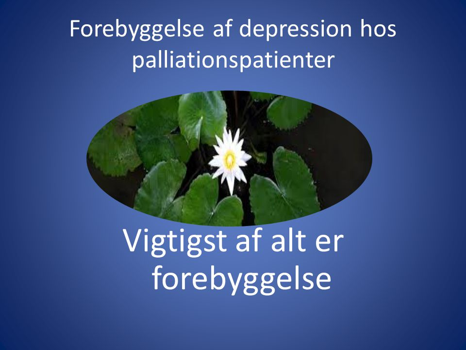 Forebyggelse af depression hos palliationspatienter Vigtigst af alt er forebyggelse