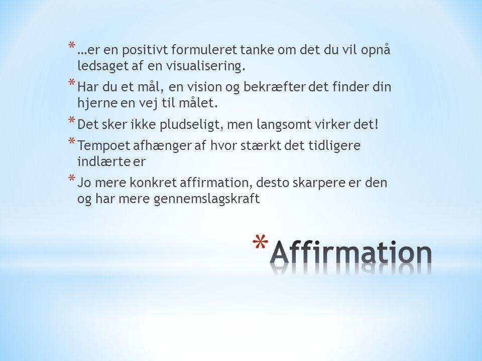 * …er en positivt formuleret tanke om det du vil opnå ledsaget af en visualisering.