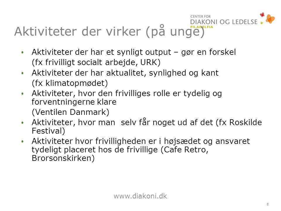 www.diakoni.dk © Aktiviteter der virker (på unge) Aktiviteter der har et synligt output – gør en forskel (fx frivilligt socialt arbejde, URK) Aktiviteter der har aktualitet, synlighed og kant (fx klimatopmødet) Aktiviteter, hvor den frivilliges rolle er tydelig og forventningerne klare (Ventilen Danmark) Aktiviteter, hvor man selv får noget ud af det (fx Roskilde Festival) Aktiviteter hvor frivilligheden er i højsædet og ansvaret tydeligt placeret hos de frivillige (Cafe Retro, Brorsonskirken)