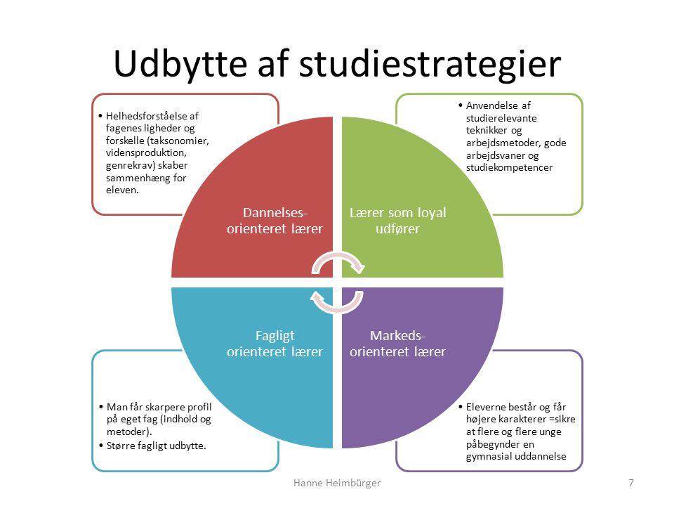 Udbytte af studiestrategier Eleverne består og får højere karakterer =sikre at flere og flere unge påbegynder en gymnasial uddannelse Man får skarpere profil på eget fag (indhold og metoder).