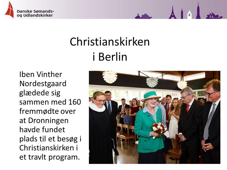 Iben Vinther Nordestgaard glædede sig sammen med 160 fremmødte over at Dronningen havde fundet plads til et besøg i Christianskirken i et travlt program.