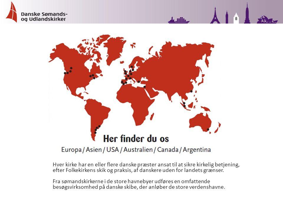 Hver kirke har en eller flere danske præster ansat til at sikre kirkelig betjening, efter Folkekirkens skik og praksis, af danskere uden for landets grænser.
