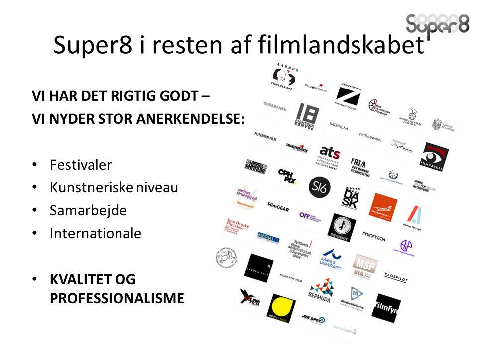 Super8 i resten af filmlandskabet VI HAR DET RIGTIG GODT – VI NYDER STOR ANERKENDELSE: Festivaler Kunstneriske niveau Samarbejde Internationale KVALITET OG PROFESSIONALISME
