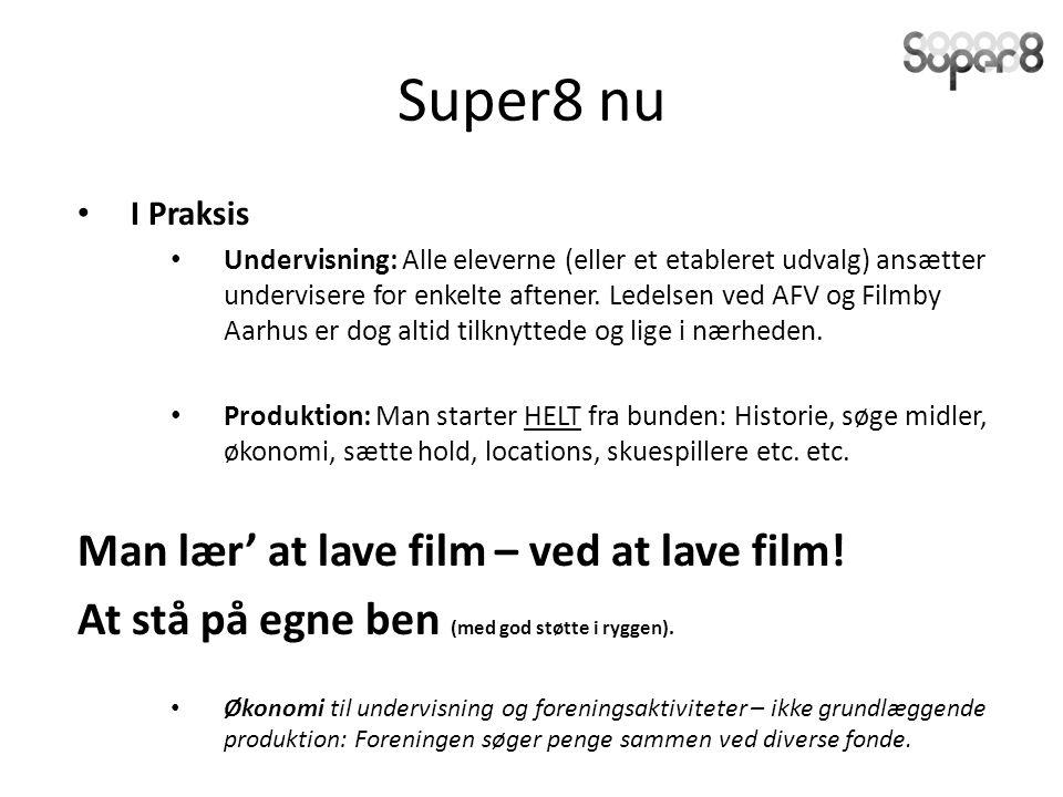 Super8 nu I Praksis Undervisning: Alle eleverne (eller et etableret udvalg) ansætter undervisere for enkelte aftener.