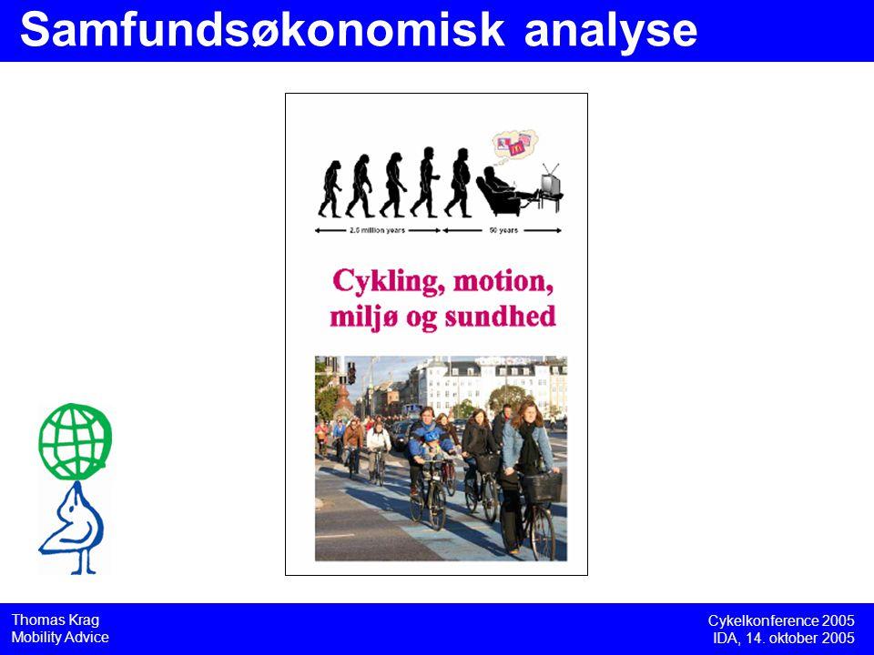 Cykelkonference 2005 IDA, 14. oktober 2005 Thomas Krag Mobility Advice Samfundsøkonomisk analyse