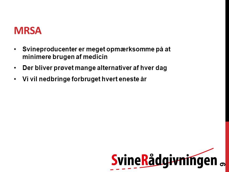 MRSA Svineproducenter er meget opmærksomme på at minimere brugen af medicin Der bliver prøvet mange alternativer af hver dag Vi vil nedbringe forbruget hvert eneste år 9