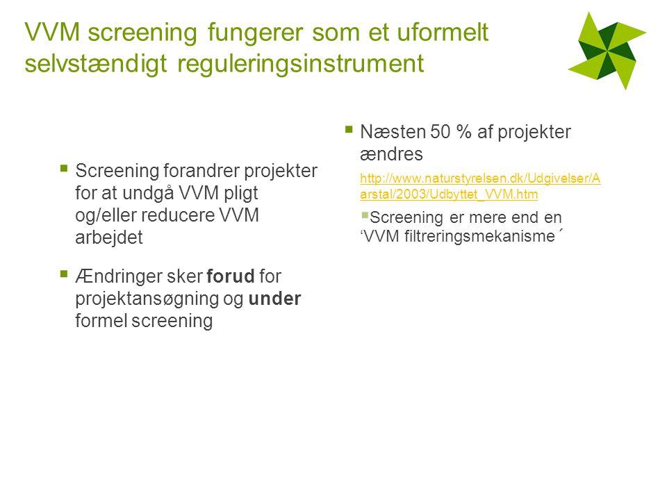 VVM screening fungerer som et uformelt selvstændigt reguleringsinstrument  Screening forandrer projekter for at undgå VVM pligt og/eller reducere VVM arbejdet  Ændringer sker forud for projektansøgning og under formel screening  Næsten 50 % af projekter ændres http://www.naturstyrelsen.dk/Udgivelser/A arstal/2003/Udbyttet_VVM.htm  Screening er mere end en 'VVM filtreringsmekanisme´