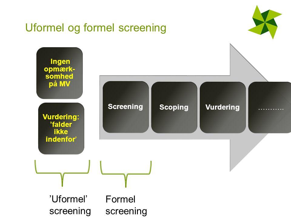 Uformel og formel screening Ingen opmærk- somhed på MV Vurdering: 'falder ikke indenfor' ScreeningScopingVurdering………..