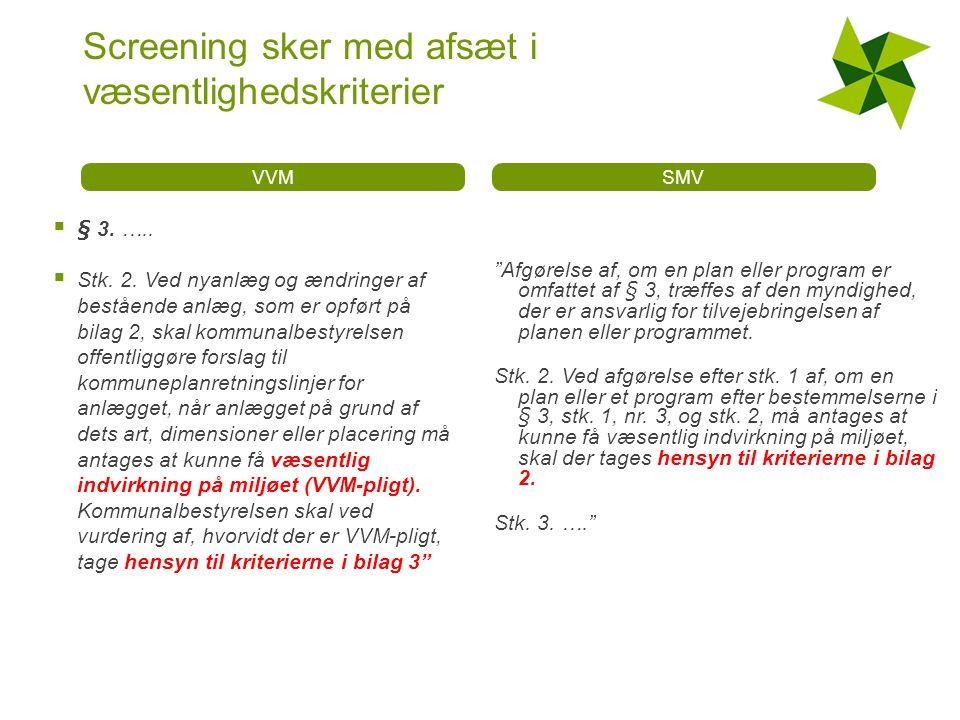 Screening sker med afsæt i væsentlighedskriterier VVM  § 3.
