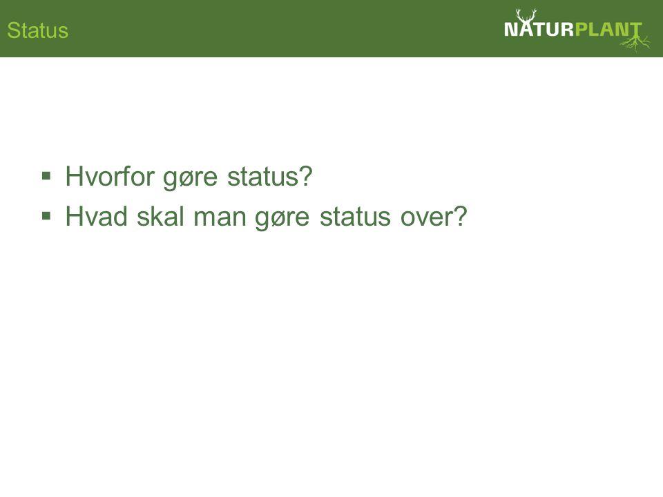 Status  Hvorfor gøre status  Hvad skal man gøre status over
