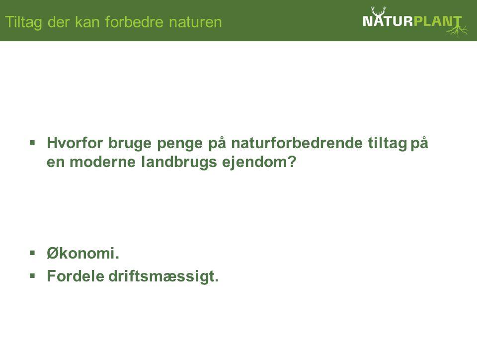 Tiltag der kan forbedre naturen  Hvorfor bruge penge på naturforbedrende tiltag på en moderne landbrugs ejendom.