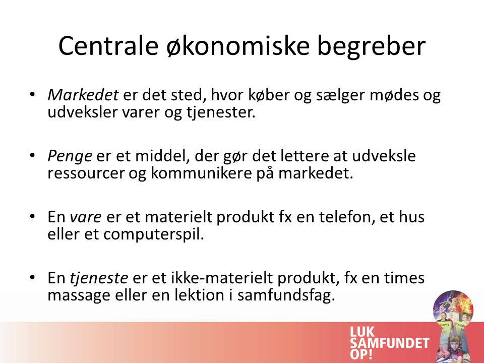 Centrale økonomiske begreber Markedet er det sted, hvor køber og sælger mødes og udveksler varer og tjenester.