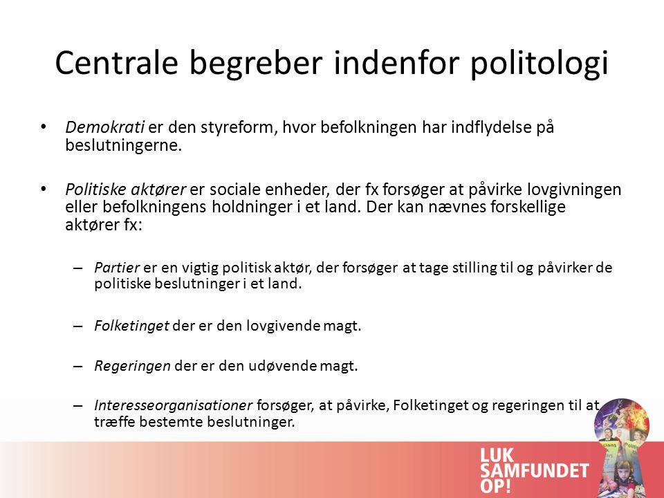 Centrale begreber indenfor politologi Demokrati er den styreform, hvor befolkningen har indflydelse på beslutningerne.