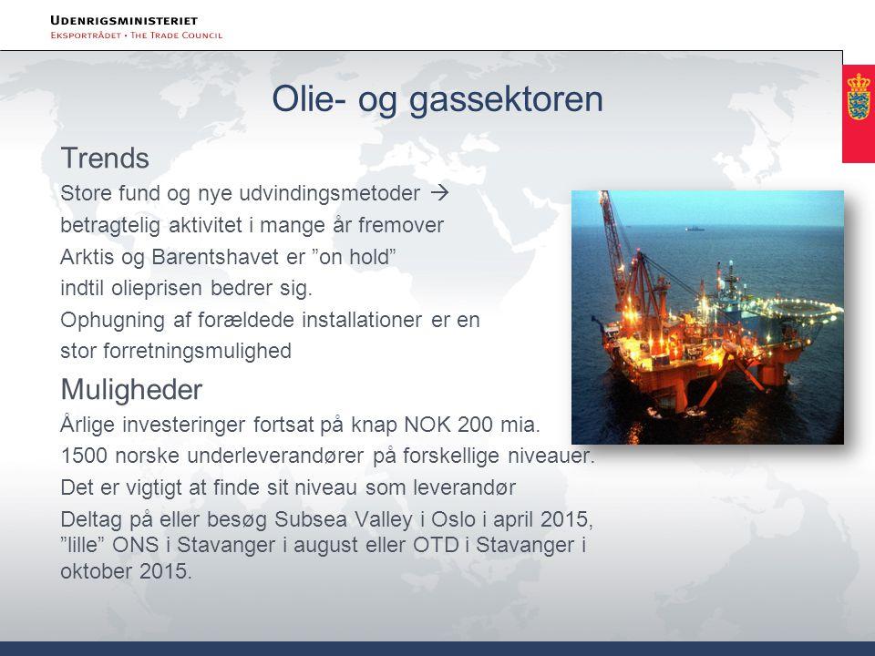 Olie- og gassektoren Trends Store fund og nye udvindingsmetoder  betragtelig aktivitet i mange år fremover Arktis og Barentshavet er on hold indtil olieprisen bedrer sig.