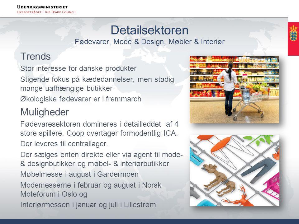 Detailsektoren Fødevarer, Mode & Design, Møbler & Interiør Trends Stor interesse for danske produkter Stigende fokus på kædedannelser, men stadig mange uafhængige butikker Økologiske fødevarer er i fremmarch Muligheder Fødevaresektoren domineres i detailleddet af 4 store spillere.