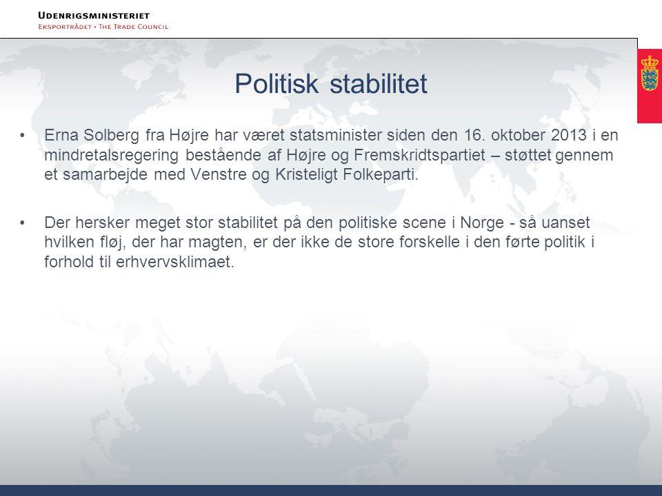 Politisk stabilitet Erna Solberg fra Højre har været statsminister siden den 16.