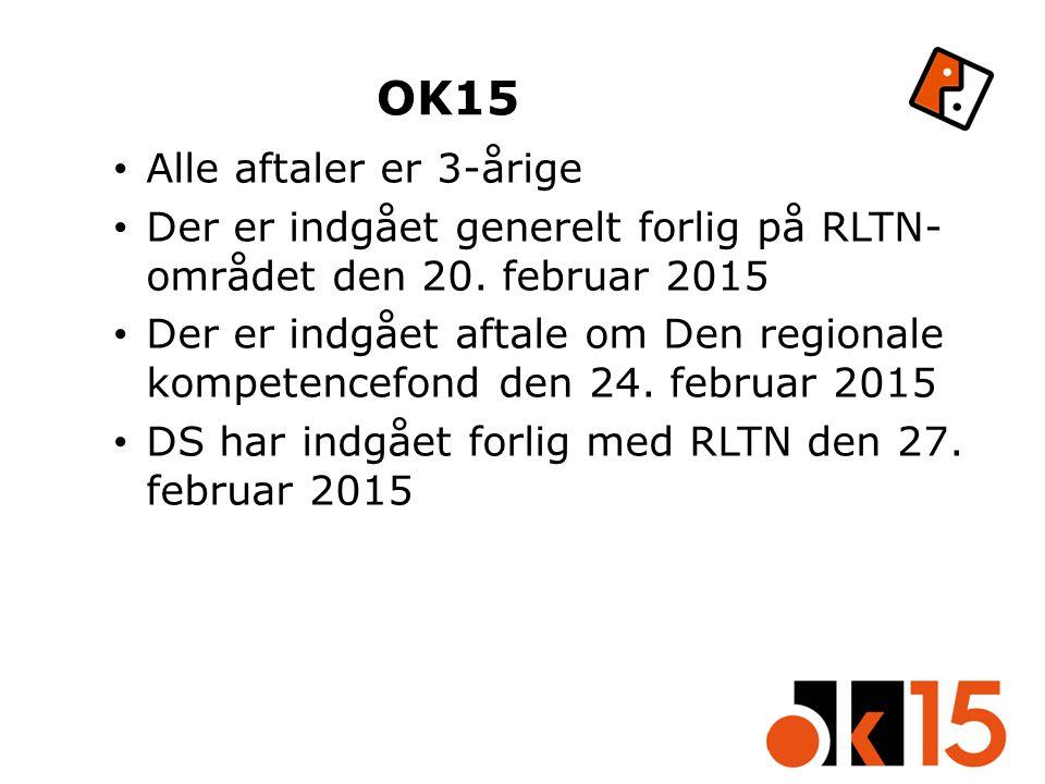 OK15 Alle aftaler er 3-årige Der er indgået generelt forlig på RLTN- området den 20.