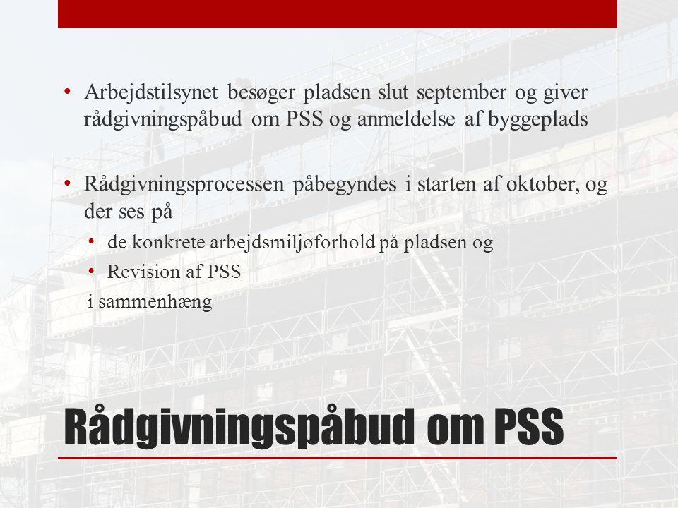 Rådgivningspåbud om PSS Arbejdstilsynet besøger pladsen slut september og giver rådgivningspåbud om PSS og anmeldelse af byggeplads Rådgivningsprocessen påbegyndes i starten af oktober, og der ses på de konkrete arbejdsmiljøforhold på pladsen og Revision af PSS i sammenhæng